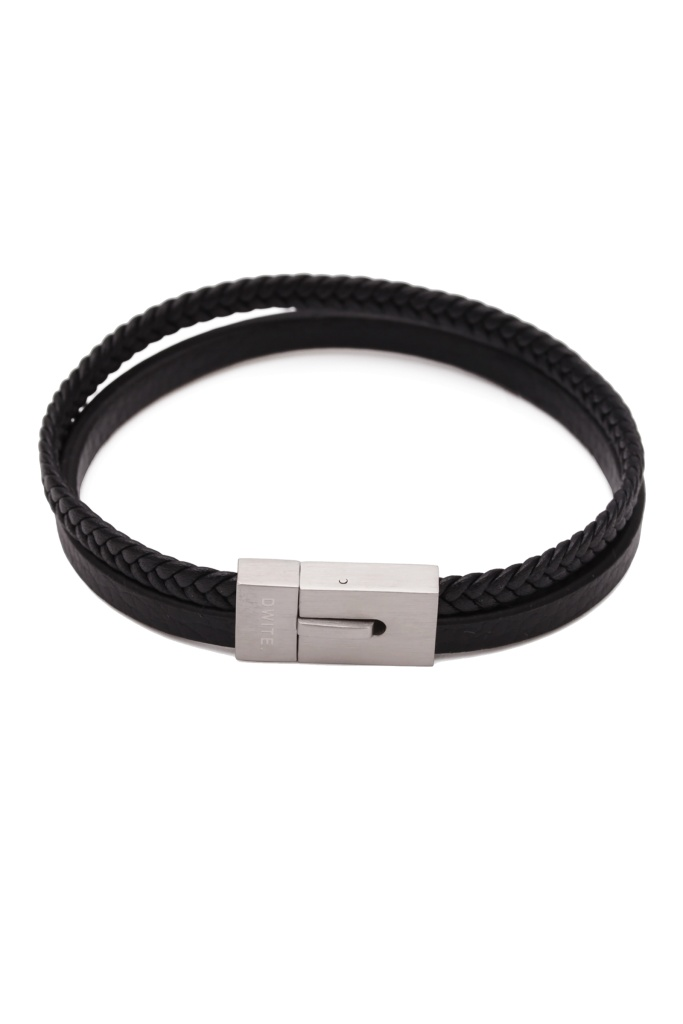 Alvin Black Two Row Leather Bracelet leather