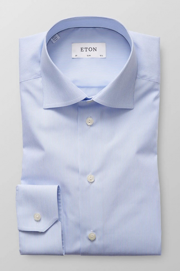 Sky blue striped poplin shirt Blue