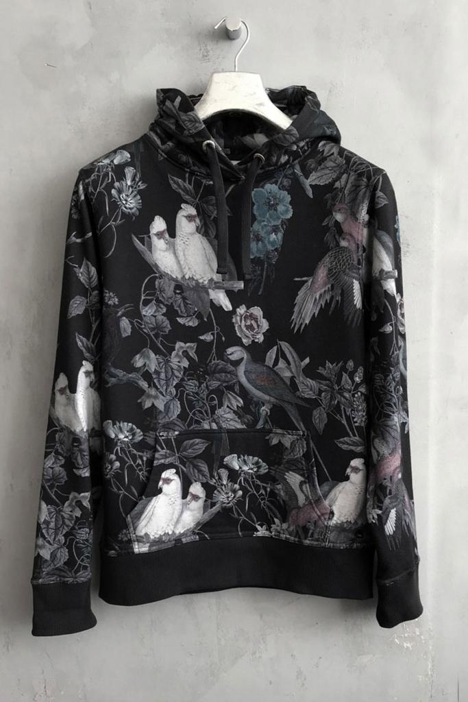 Hood Sweater Printed Dk Singing Birds
