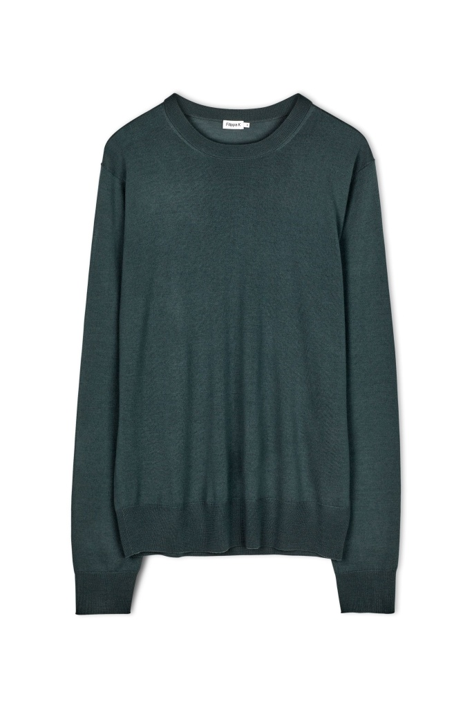 M. Merino R-Neck Sweater Stone Gree