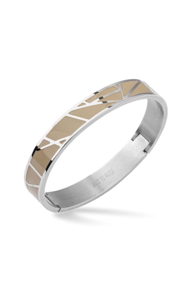 Rose Enamel Bracelet Sand/Steel Silver