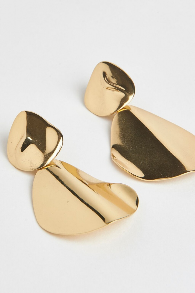 Molded organic hinge earring - pair gold plated brass