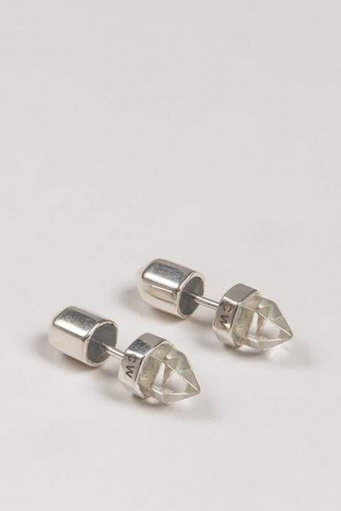Crystalised stud earrings - pair silver plated brass