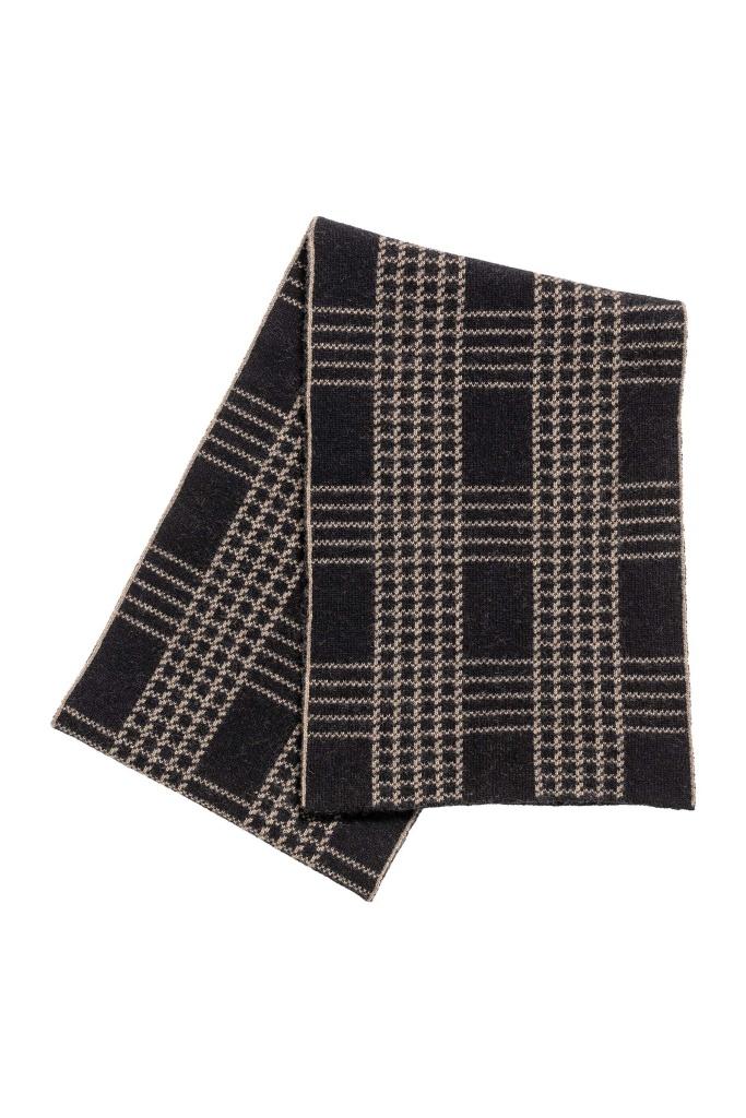 Check jacquard scarf Camel/Black