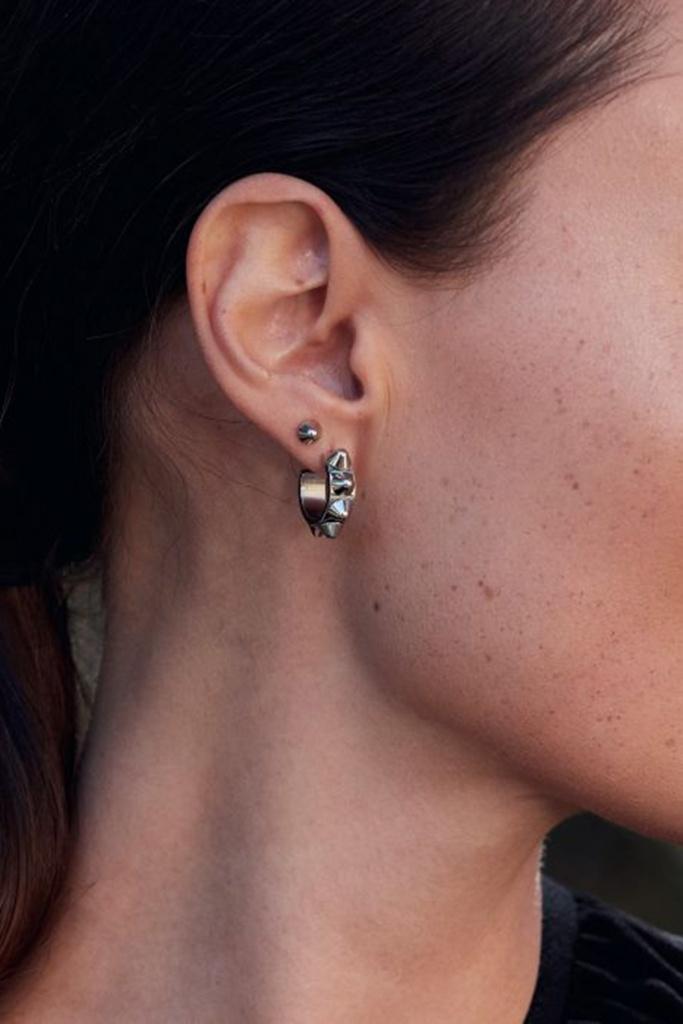 Peak Creole Earrings Small Steel steel