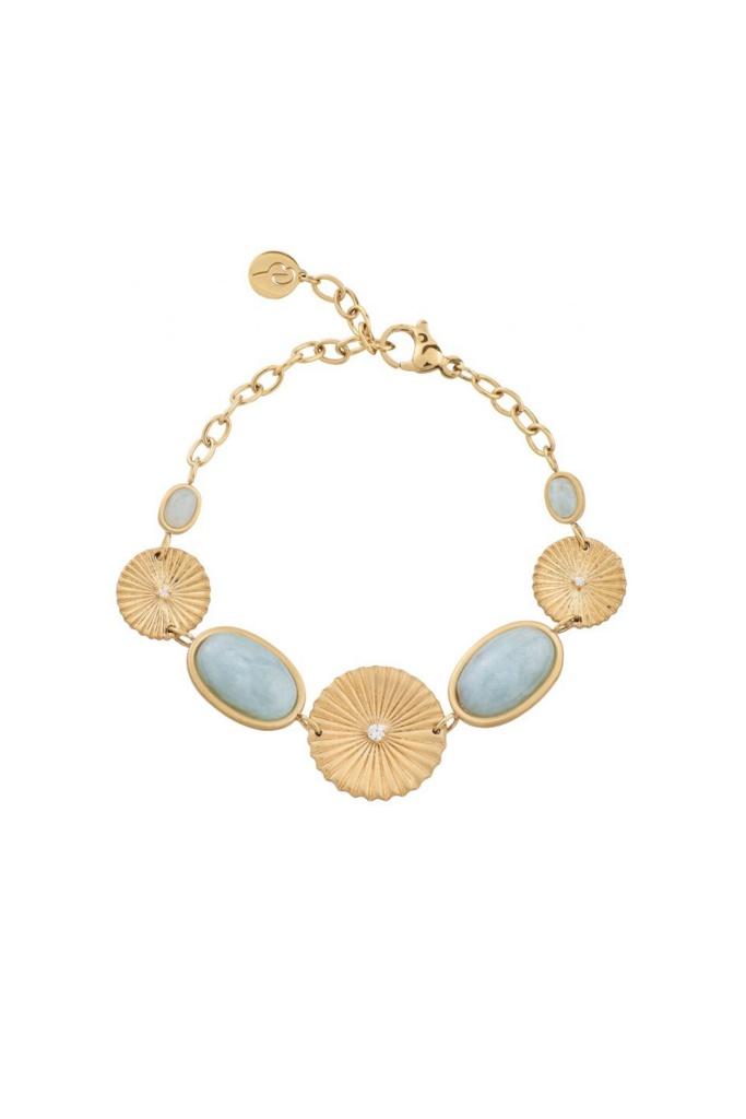 Crinkle Aquamarine Bracelet Matt Gold gold