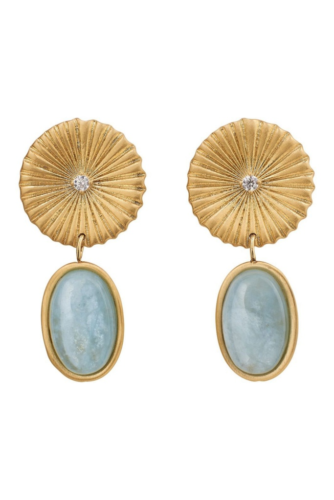 Crinkle Aquamarine Earrings Matt Gold gold
