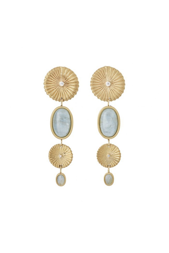 Crinkle Aquamarine Multi Earrings Matt Gold gold