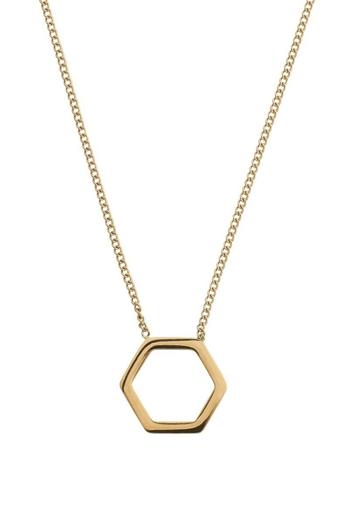 Hexagon Necklace Gold gold
