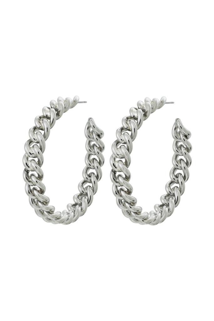 Lourdes Chain Creole Earrings Large steel