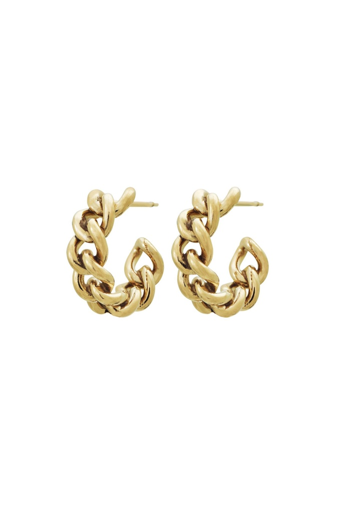 Lourdes Chain Creole Earrings gold
