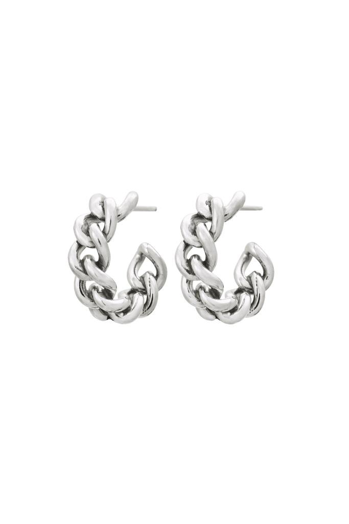Lourdes Chain Creole Earrings steel