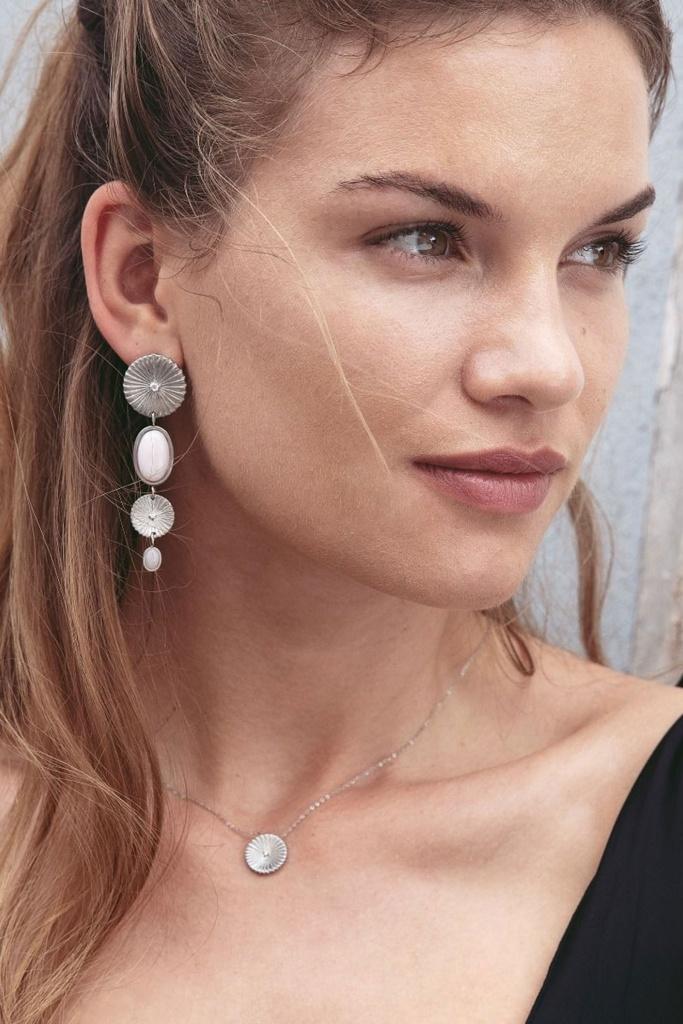 Crinkle Opal Multi Earrings Matt Steel steel
