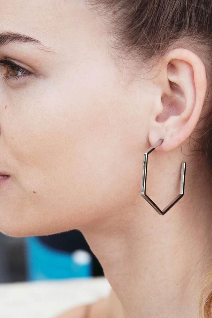 Hexagon Earrings Large Steel steel