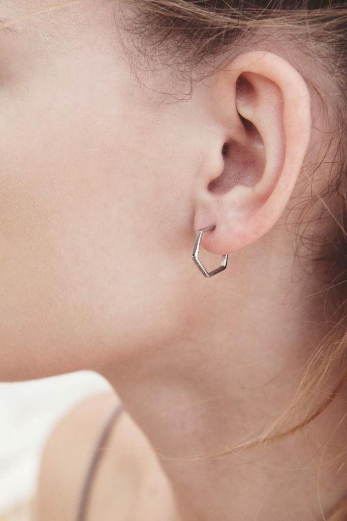 Hexagon Earrings Steel steel