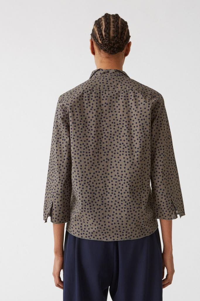Vida Shirt Small Dot Khaki Brow