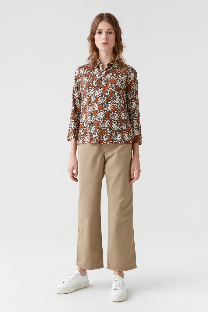 Zand Shirt rust flower print