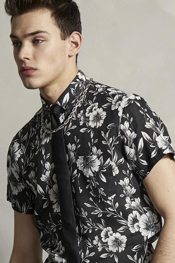 Linen Short Sleeve Shirt Black By Hand