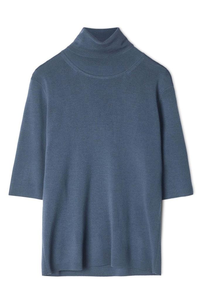 Merino Elbow Sleeve Top Blue Grey