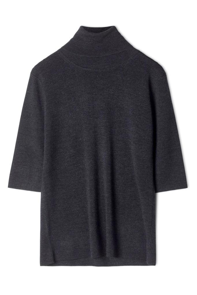 Merino Elbow Sleeve Top Charcoal M