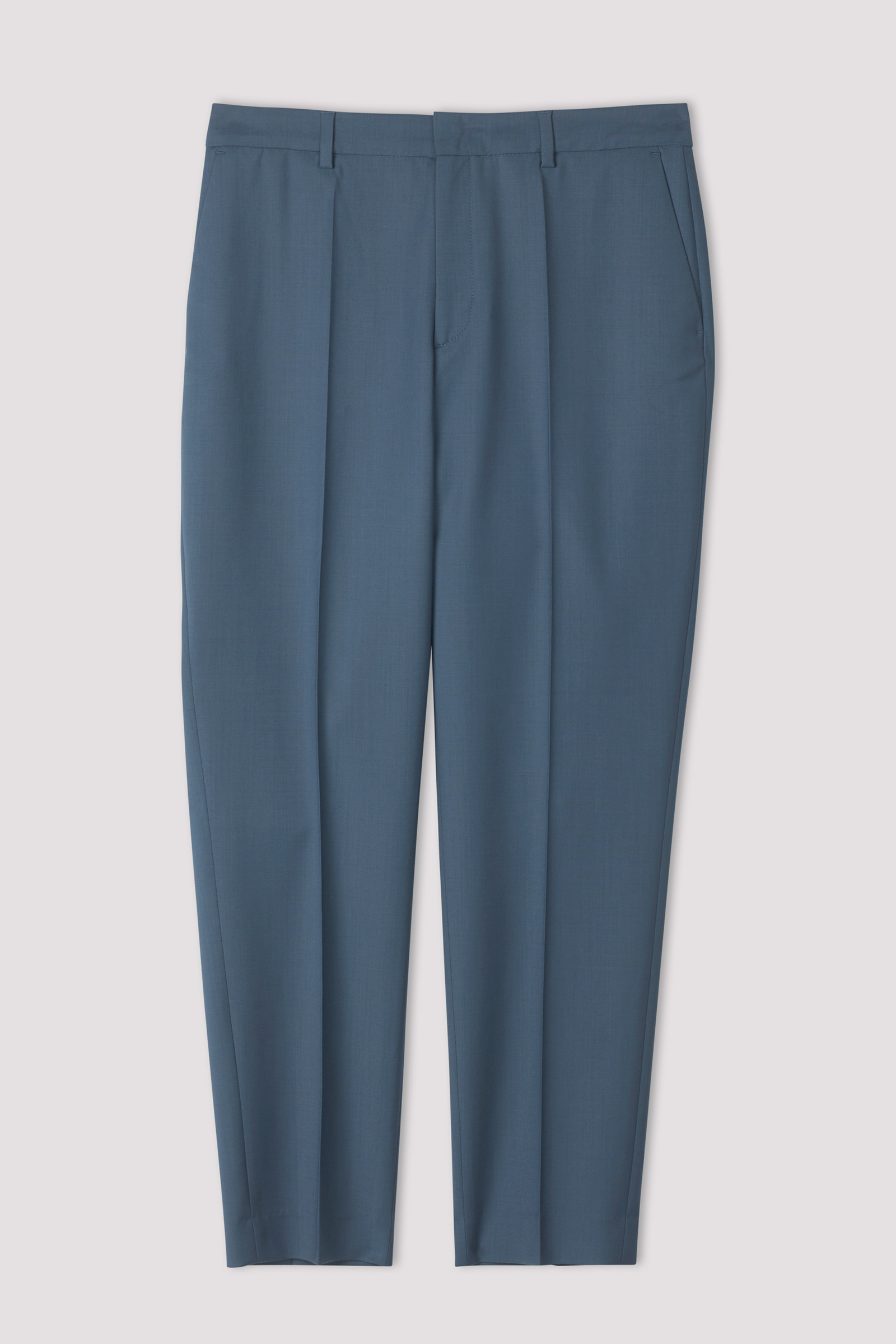 Emma Cropped Cool Wool Trouser Blue Grey
