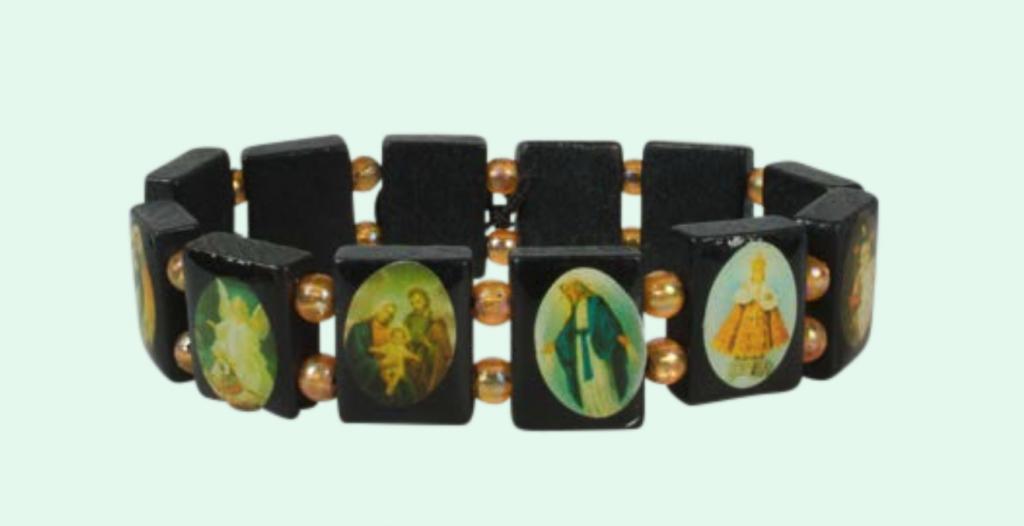 Helgon-armband, mörk, kantigt