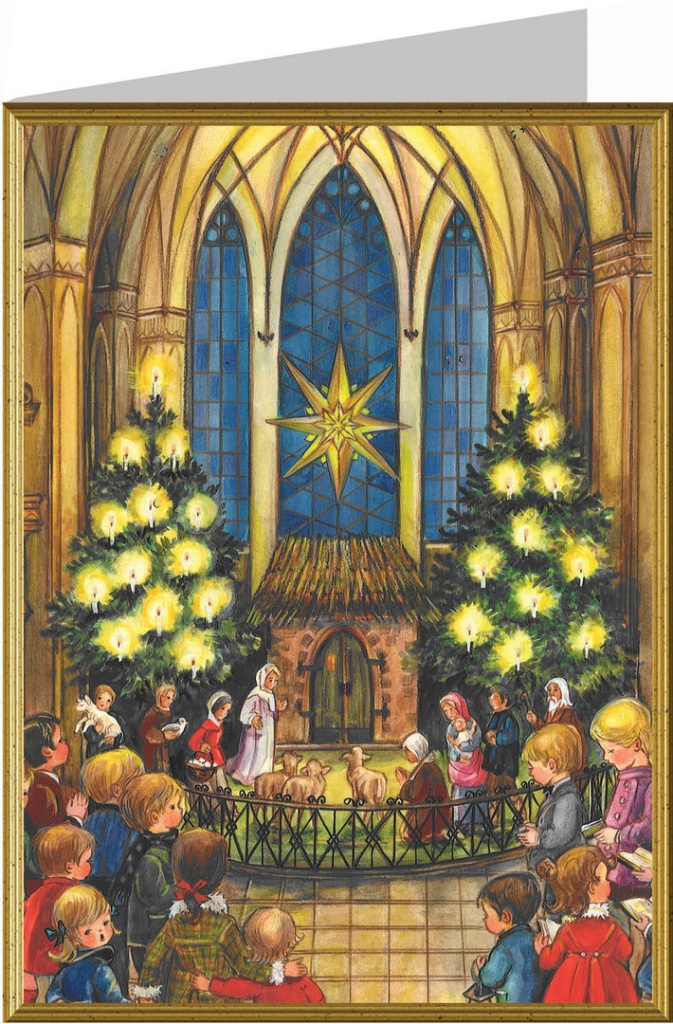 Julkort, Barn framför julkrubba i kyrka