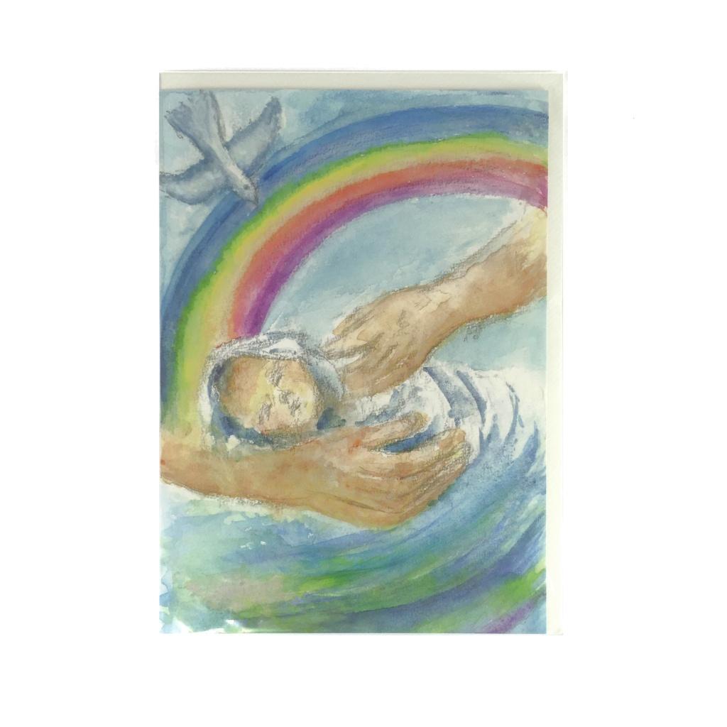 Dopkort med regnbåge (dubbelt vykort)