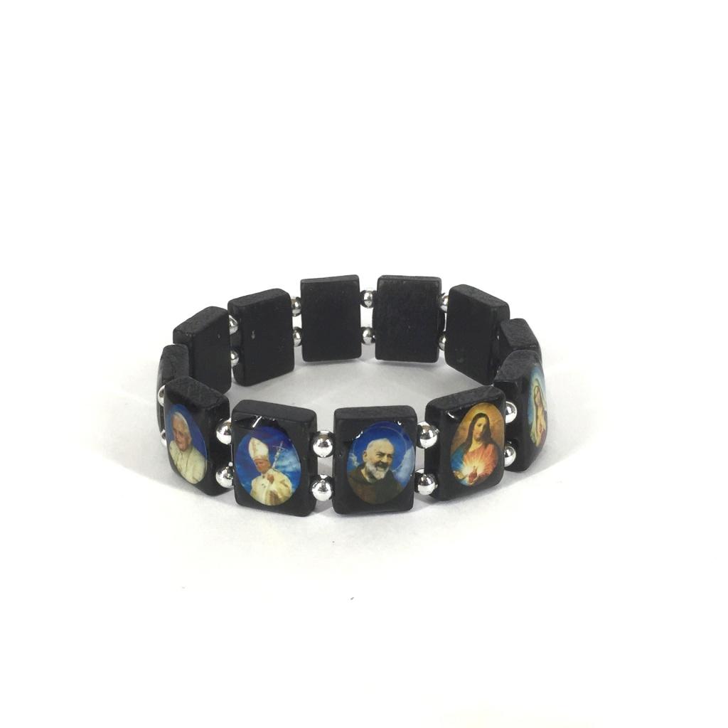 Helgon-armband, trä, kantigt (svart)