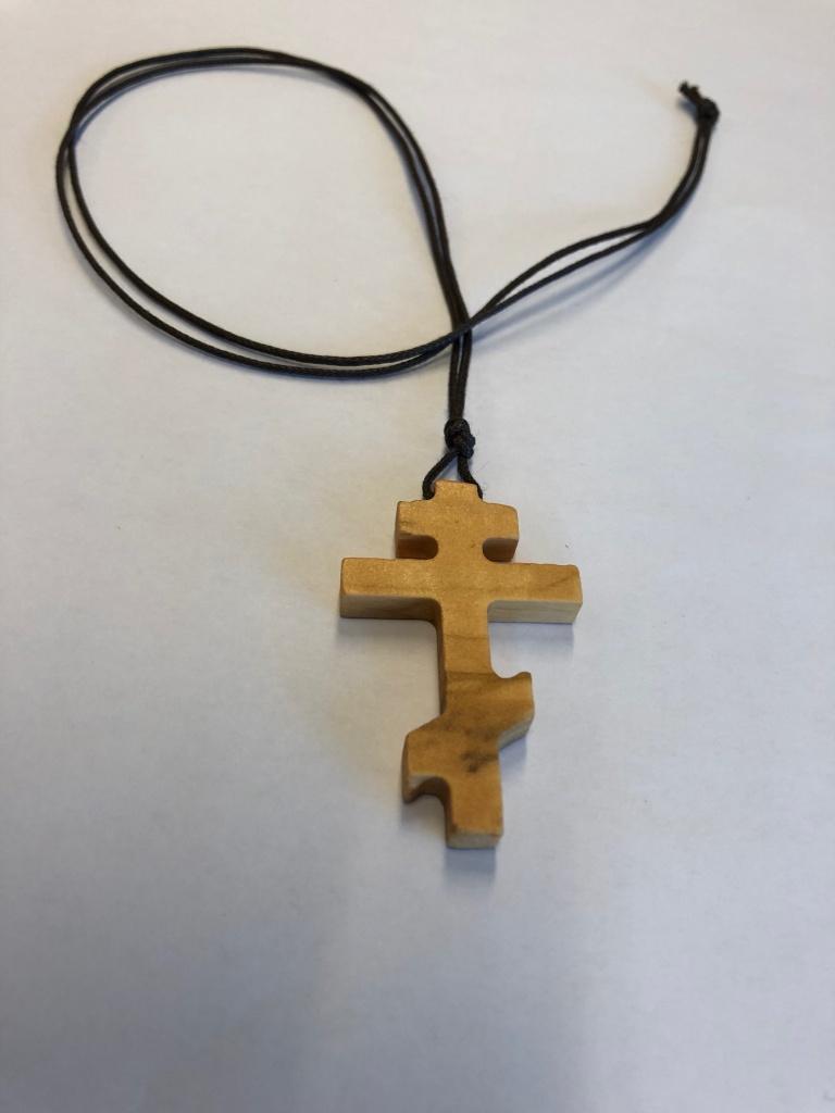 Ortodoxt kors, hals, olivträ från Israel