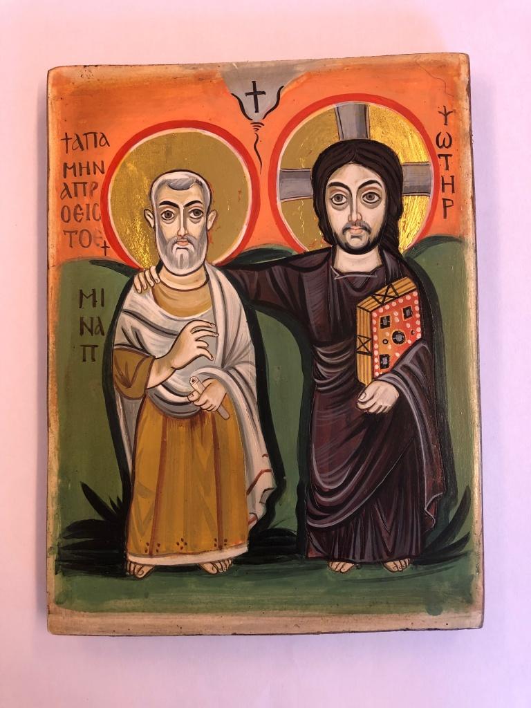Kristus & Hl Minas - Vänskapsikonen (15x20), äkta ikon