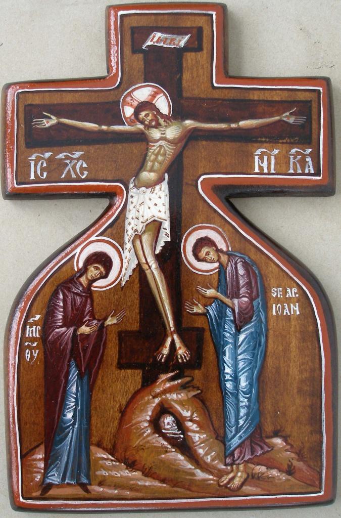 Korsfästelsen som korsikon (14x22), äkta ikon