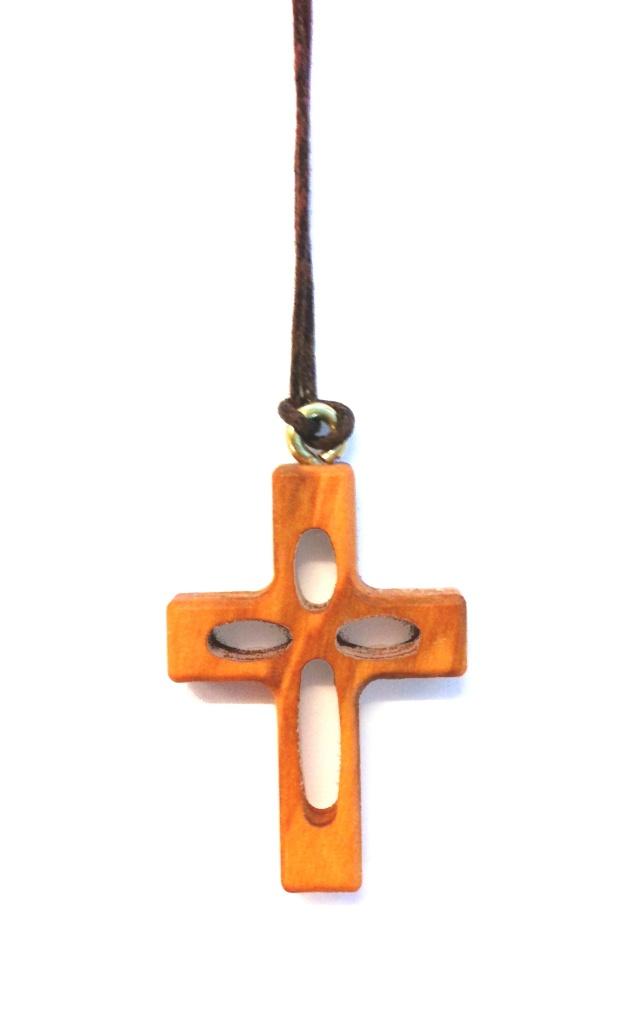 Halskors, ihåligt, trä, vaxad spunnen tråd