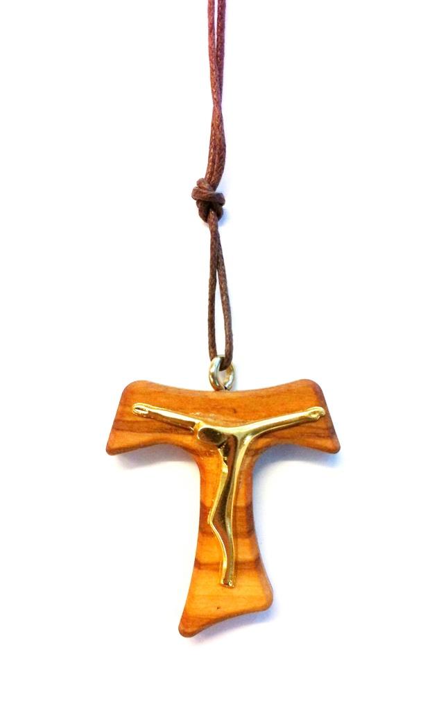 Tau-krucifix i läderband, större
