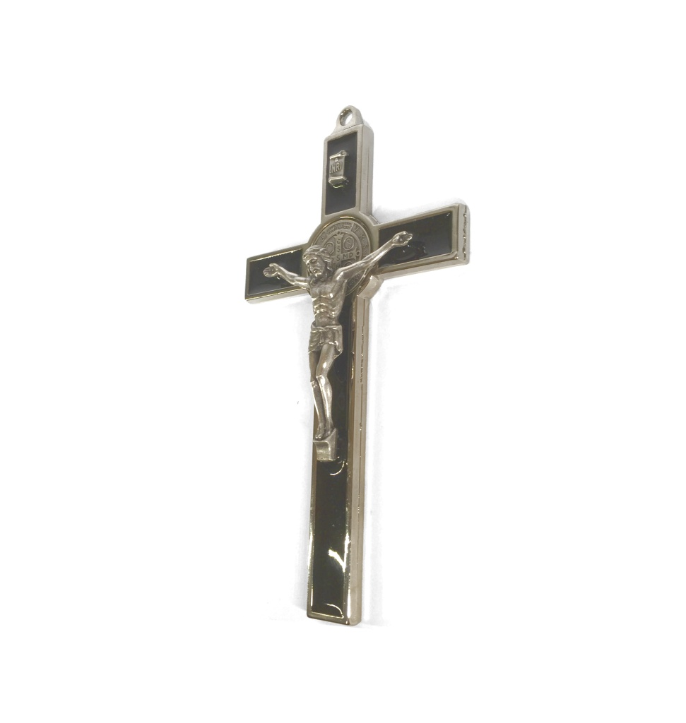 Benedictus-krucifix, 20cm, svart/silverfärgad