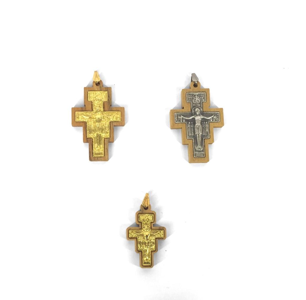 Silverf. San Damiano-kors, träram, litet