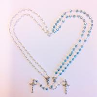 Rosenkrans, ljusblå, hjärtformad