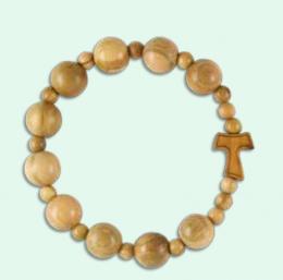 Armband, träpärlor + tau-kors