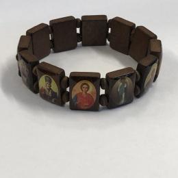 Helgonarmband, trä, katolska o ortodoxa helgon