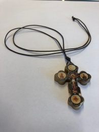 Ortodoxt ikonkors, hals, olivträ från Israel