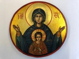 Gudaföderskan & Jesus (15cm), rund äkta ikon