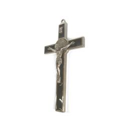 Benedictus-krucifix, 13cm, olivträ/silverfärgad