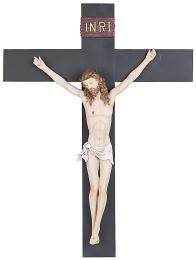 Krucifix, målat, keramik, 50x39cm