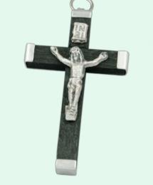 Latinskt kors, ca 45mm, svart trä o metall
