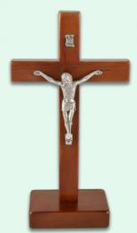 Krucifix, stående, alträ, mörkt (ca 21cm)
