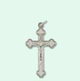 Krucifix, vit emalj + metall, 4cm