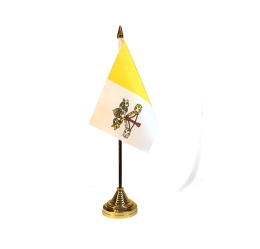 Vatikanflagga, bord, plaststång & -fot