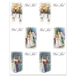 12 julklapps-etiketter med änglamotiv (klistermärken)