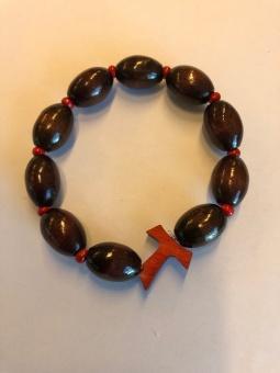 Armband m Tau-kors, röd, oval