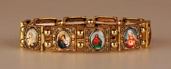 Helgon-armband i metall, guldigt